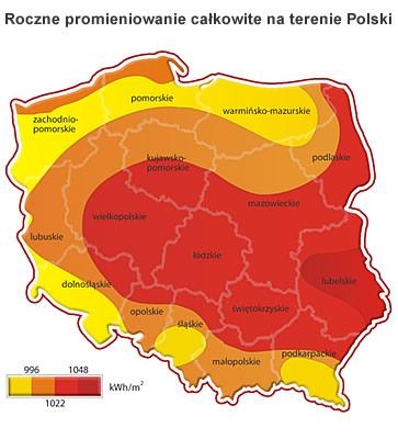 Roczne promieniowanie słoneczne na terenie Polski